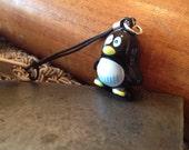 Evil Penguin Bell Charm for Cell Phone, Zipper or Keychain