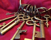 Bronze Colored Keyring with 10 Decorative Keys