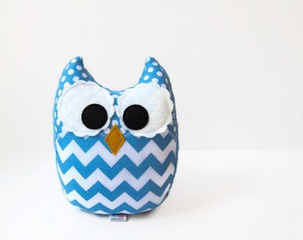 Owl Plush Mini Pillow Toy Minky Sky Blue Chevron Nursery Decor