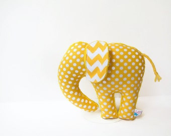 Yellow Polka Dot Chevron Elephant Softie Plush Animal