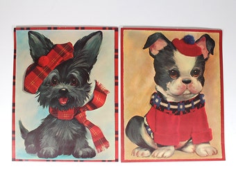 Set of 2 Vintage Puppy Posters