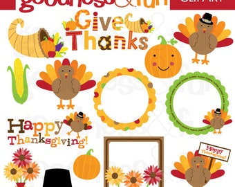 Buy 2, Get 1 FREE - Happy Thanksgiving Clipart - Digital Thanksgiving Clipart - Instant Download