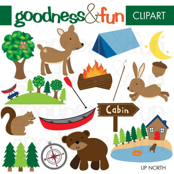 Buy Get FREE Up North Cabin Clipart Digital Animal - Cabin clip art free
