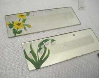 SALE - Vintage Mirror Place Cards - Hand Painted