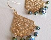Festive Sparkles Blue-Green Gold (handmade gold filigree beaded earrings)