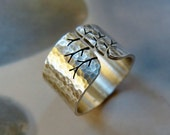 Tree of life ring, rustic silver ring, hammered wide band ring, metalwork jewelry, statement ring, Sterling silver