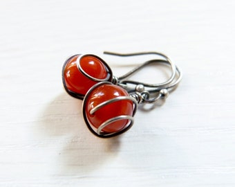 Red agate Sterling silver earrings, wire wrapped earrings, natural jewelry