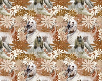 Fantastic Floral Afghan Hound Fabric