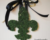 Fleur De Lis Wreath, Moss Monogram, Mardi Gras Wreath, Saints Wreath