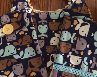 Three Piece Bib..Diaper Wipie Case and Burp Cloth