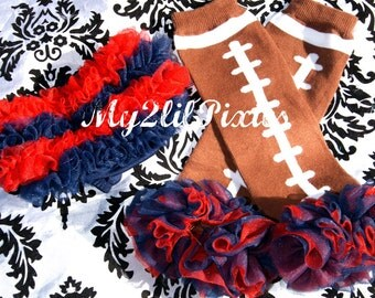 Bloomers and Leg warmers, New England Patriots Bloomers, Football Leg warmers, Red and Navy bloomer, Baby Patriots Outfit , Baby Girl Set