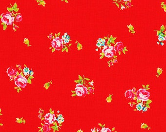 Flower Sugar 2013 by Lecien  Pink Roses on red 30750-30 Cotton Fabric