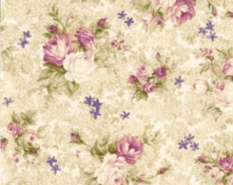 Cream Small Bouquet  Cotton Fabric Southern Nights Fabriquilt 112-2617