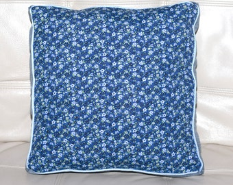 Cornflower Blue Floral Upcycled Throw Pillow OOAK