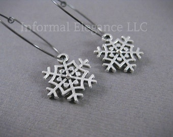 CLEARANCE, WAS 24, Antiqued Silver Plated Snowflake Earrings with Hoops