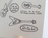 Funny Thinking of You, Blank Folded Card, French Bulldog, Musicians, Brooklyn
