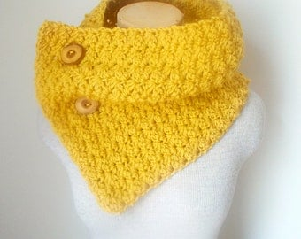 Crochet Cowl Scarf Neckwarmer in Mustard Yellow with Wooden Buttons