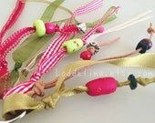 Keychain ribbons and beads tassel purse charm in pink red apple olive green