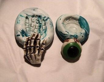 Eyeball and skeleton set  polymer clay mold