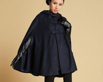 Navy cape, cape coat, hooded cape, wool cape coat, capes for women, blue cape, cape with hood, winter fashion, warm coat, gift for her (391)