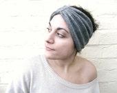 Winter headband, womens earwarmer, gray knit turban hat, turban accessory.