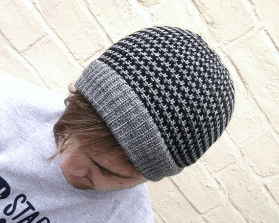 Mens striped beanie hat, wool winter hat, man hat, guys winter accessory.