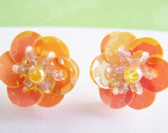 Flower Stud Earrings - FREE SHIPPING WAI - Sparkly Sequin and Glass Bead Flowers - Summer sale - Spring - affordable - gift - bridesmaids