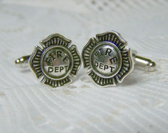 Fire Department Cuff Links - Firefighter - Fireman - Firemen cufflinks - silver
