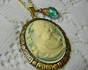 Cameo Necklace - Goddess Pendant - Greek Goddess Jewelry - Large 3D Cameo - Antiqued Gold