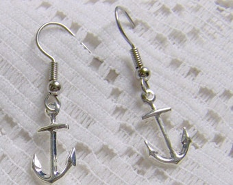 Tiny ANCHOR Earrings  - Petite - Lightweight - Silver Plated Anchor Earrings - Hope - Sorority jewelry