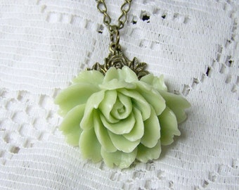 Rose Necklace, Green ROSE, Cabbage Rose Necklace, Victorian Style, Antiqued bronze, Seafoam Green, Light Green, Rose Jewelry, Bridesmaids