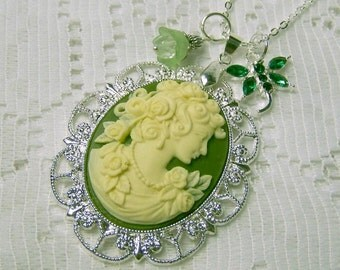Classic Lady Cameo Necklace - Victorian Lady Elegance - Green and Ivory - Silver  Pendant - Roses - Emerald Dragonfly