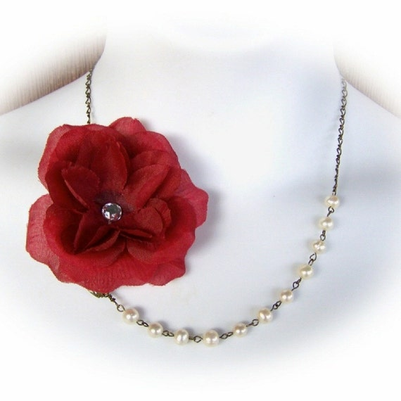 Red Rose Flower with Pearls Necklace - Bridesmaids Jewelry - Big Red Rose necklace - Blood Red