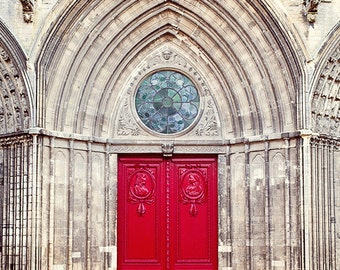 Red Door Photograph, Door Photography, French Gothic Cathedral, French Country Travel Art Print, France Fine Art Print - Bayeux Cathedral
