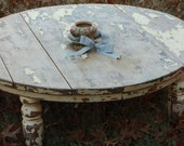 Vintage Round Coffee Table // Distressed Pale Yellow