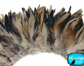 Rooster Feathers,4 Inch Strip - NATURAL CREAM and BLACK Strung Rooster Schlappen Feathers : 468