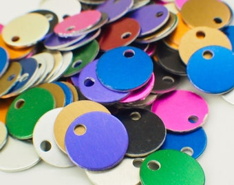 25 Round Economical Aluminum Stamping Blanks - 12.5mm Rainbow Mix - Handmade Jump Rings Included - 100% Guarantee