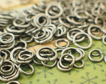 100 Antique Silver Jump Rings - 22, 20, 18, 16 Gauge - Best Commercially Made - 100 % Guarantee