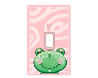 Green Frog with Pink Switch Plate Cover