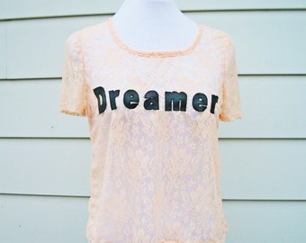 Dreamer Lace T-Shirt in Soft Peach - Cute Summer Top. Pastel Lace Top. Leather and Lace Top. One Size.