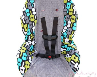 Car Seat Cover Groovy Guitars Lagoon with Charcoal Toddler
