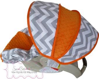 Car Seat Cover Grey Chevron with Orange Infant