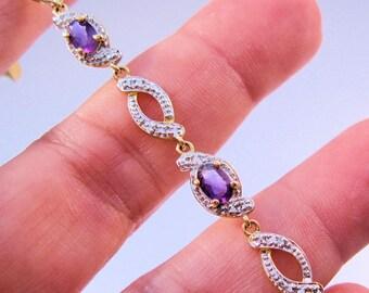 Estate Genuine Amethyst Diamond Chip Sterling Vermeil Tennis Bracelet Signed R Vintage Jewelry Jewellery FREE Shipping