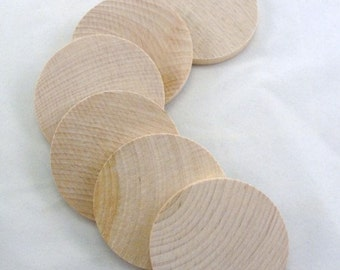 "6 Wooden 2 5/16"" circles, large wood disc, wood disk 2 5/16"" wood unfinished DIY"