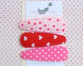 Be Mine - Pink and Red 50mm Snap Hair Clip Set ( 3 piece) - Heart Hair Clips / Girls Hair Clips