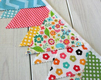 Banner Bunting, Fabric Flags, Baby Nursery Decor, Birthday Decoration, Photography Prop - Chevron, Birds, Flowers