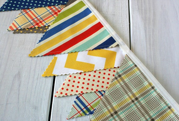 Bunting Banner, Photography Prop, Fabric Flags, Nursery Decor - Red, Yellow, Navy Blue, Gray, Grey, Chevron, Nautical
