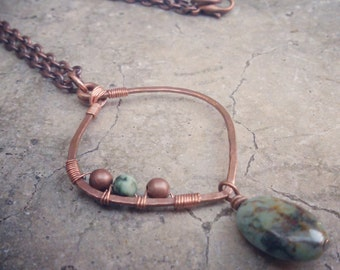Bohemian African Turquoise Stone Drop Necklace