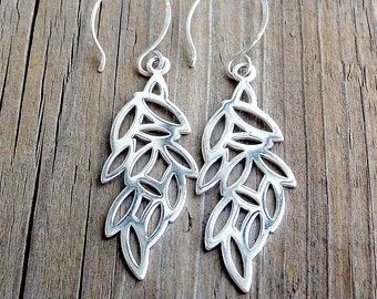 Cascading Leaves Earrings. Sterling Silver Nature Jewelry. Gift For Her.