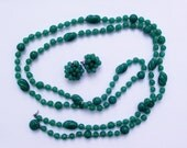 "Vintage 56"" Green Glass Bead Necklace - Earring Set"